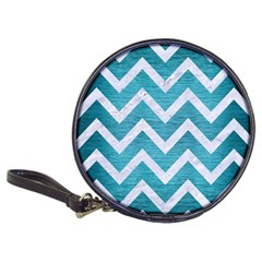 Chevron9 White Marble & Teal Brushed Metal Classic 20 Cd Wallets by trendistuff