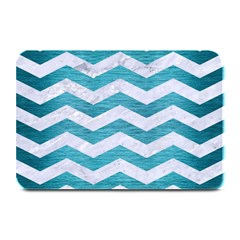 Chevron3 White Marble & Teal Brushed Metal Plate Mats by trendistuff