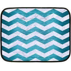 Chevron3 White Marble & Teal Brushed Metal Double Sided Fleece Blanket (mini)  by trendistuff