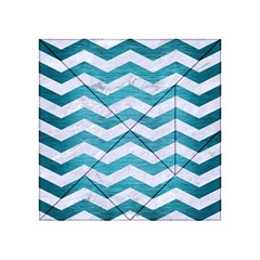 Chevron3 White Marble & Teal Brushed Metal Acrylic Tangram Puzzle (4  X 4 ) by trendistuff