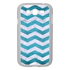 Chevron3 White Marble & Teal Brushed Metal Samsung Galaxy Grand Duos I9082 Case (white) by trendistuff