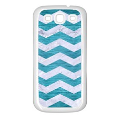 Chevron3 White Marble & Teal Brushed Metal Samsung Galaxy S3 Back Case (white) by trendistuff