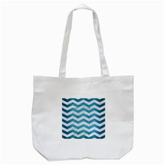 Chevron3 White Marble & Teal Brushed Metal Tote Bag (white) by trendistuff