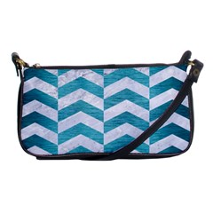 Chevron2 White Marble & Teal Brushed Metal Shoulder Clutch Bags by trendistuff