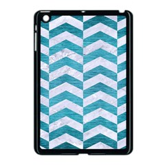 Chevron2 White Marble & Teal Brushed Metal Apple Ipad Mini Case (black) by trendistuff