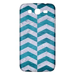 Chevron2 White Marble & Teal Brushed Metal Samsung Galaxy Mega 5 8 I9152 Hardshell Case  by trendistuff