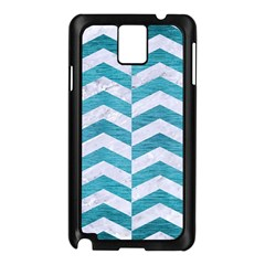 Chevron2 White Marble & Teal Brushed Metal Samsung Galaxy Note 3 N9005 Case (black) by trendistuff