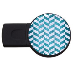 Chevron1 White Marble & Teal Brushed Metal Usb Flash Drive Round (4 Gb) by trendistuff