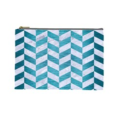Chevron1 White Marble & Teal Brushed Metal Cosmetic Bag (large)  by trendistuff