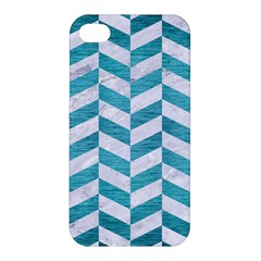 Chevron1 White Marble & Teal Brushed Metal Apple Iphone 4/4s Hardshell Case by trendistuff
