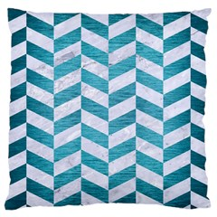 Chevron1 White Marble & Teal Brushed Metal Large Cushion Case (two Sides) by trendistuff