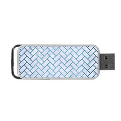 Brick2 White Marble & Teal Brushed Metal (r) Portable Usb Flash (two Sides) by trendistuff