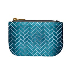 Brick2 White Marble & Teal Brushed Metal Mini Coin Purses by trendistuff