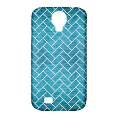 Brick2 White Marble & Teal Brushed Metal Samsung Galaxy S4 Classic Hardshell Case (pc+silicone) by trendistuff