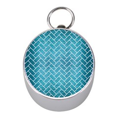 Brick2 White Marble & Teal Brushed Metal Mini Silver Compasses by trendistuff