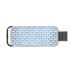 Brick1 White Marble & Teal Brushed Metal (r) Portable Usb Flash (two Sides) by trendistuff