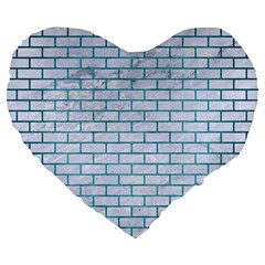 Brick1 White Marble & Teal Brushed Metal (r) Large 19  Premium Flano Heart Shape Cushions by trendistuff