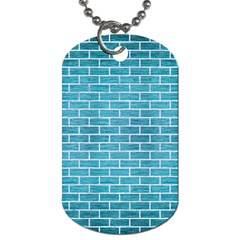 Brick1 White Marble & Teal Brushed Metal Dog Tag (two Sides) by trendistuff