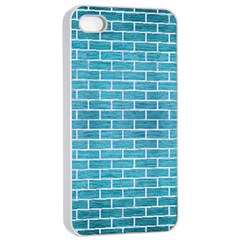 Brick1 White Marble & Teal Brushed Metal Apple Iphone 4/4s Seamless Case (white) by trendistuff