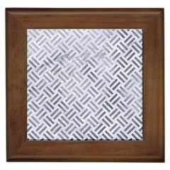 Woven2 White Marble & Silver Paint (r) Framed Tiles by trendistuff