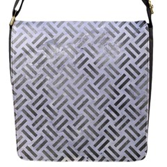 Woven2 White Marble & Silver Paint (r) Flap Messenger Bag (s) by trendistuff