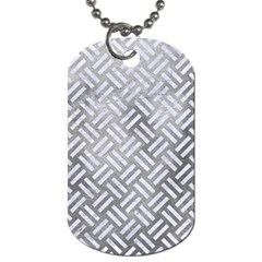 Woven2 White Marble & Silver Paint Dog Tag (two Sides) by trendistuff