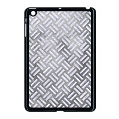 Woven2 White Marble & Silver Paint Apple Ipad Mini Case (black) by trendistuff