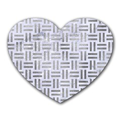 Woven1 White Marble & Silver Paint (r) Heart Mousepads by trendistuff