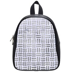 Woven1 White Marble & Silver Paint (r) School Bag (small) by trendistuff