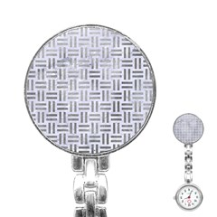Woven1 White Marble & Silver Paint (r) Stainless Steel Nurses Watch by trendistuff