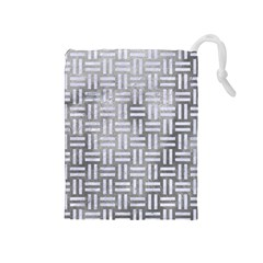 Woven1 White Marble & Silver Paint Drawstring Pouches (medium)  by trendistuff