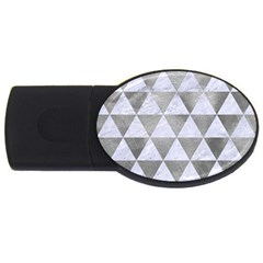 Triangle3 White Marble & Silver Paint Usb Flash Drive Oval (4 Gb) by trendistuff