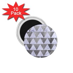 Triangle2 White Marble & Silver Paint 1 75  Magnets (10 Pack)  by trendistuff