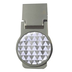 Triangle2 White Marble & Silver Paint Money Clips (round)  by trendistuff