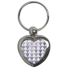 Triangle2 White Marble & Silver Paint Key Chains (heart)  by trendistuff