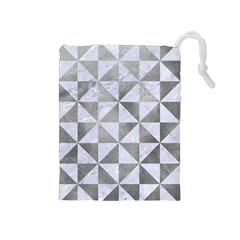 Triangle1 White Marble & Silver Paint Drawstring Pouches (medium)  by trendistuff