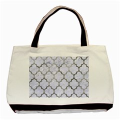 Tile1 White Marble & Silver Paint (r) Basic Tote Bag by trendistuff