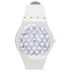 Tile1 White Marble & Silver Paint (r) Round Plastic Sport Watch (m) by trendistuff