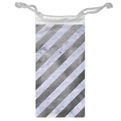 Stripes3 White Marble & Silver Paint (r) Jewelry Bag by trendistuff