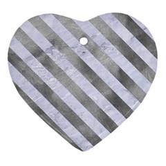 Stripes3 White Marble & Silver Paint Ornament (heart) by trendistuff