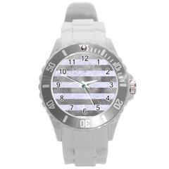 Stripes2white Marble & Silver Paint Round Plastic Sport Watch (l) by trendistuff