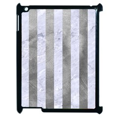 Stripes1 White Marble & Silver Paint Apple Ipad 2 Case (black) by trendistuff