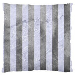 Stripes1 White Marble & Silver Paint Standard Flano Cushion Case (one Side) by trendistuff
