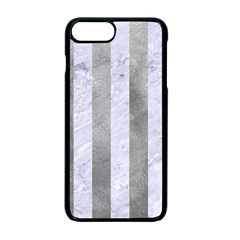 Stripes1 White Marble & Silver Paint Apple Iphone 7 Plus Seamless Case (black) by trendistuff