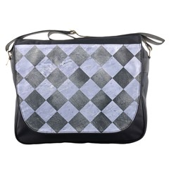 Square2 White Marble & Silver Paint Messenger Bags by trendistuff