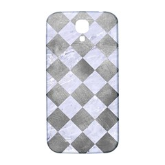 Square2 White Marble & Silver Paint Samsung Galaxy S4 I9500/i9505  Hardshell Back Case by trendistuff