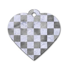 Square1 White Marble & Silver Paint Dog Tag Heart (one Side) by trendistuff