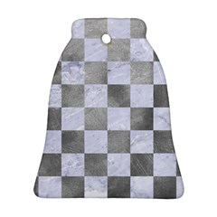Square1 White Marble & Silver Paint Bell Ornament (two Sides) by trendistuff
