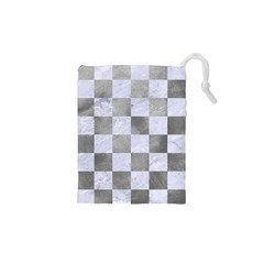 Square1 White Marble & Silver Paint Drawstring Pouches (xs)  by trendistuff