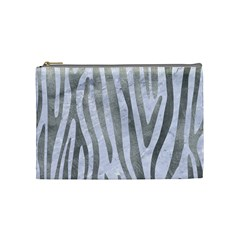 Skin4 White Marble & Silver Paint Cosmetic Bag (medium)  by trendistuff